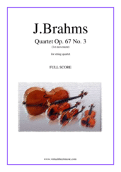 Cover icon of String Quartet Op. 67 No. 3, 1st movement (f.score) sheet music for string quartet by Johannes Brahms, classical score, advanced