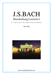 Cover icon of Brandenburg Concerto I (parts) sheet music for hrn, ob, bs, strings and harpsichord by Johann Sebastian Bach, classical score, intermediate orchestra