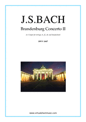 Cover icon of Brandenburg Concerto II (parts) sheet music for tr, fl, ob, strings and harpsichord by Johann Sebastian Bach, classical score, intermediate orchestra