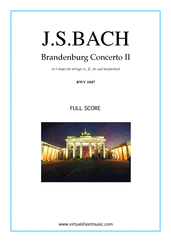 Brandenburg Concerto II (COMPLETE) for tr, fl, ob, strings and harpsichord - flute orchestra sheet music
