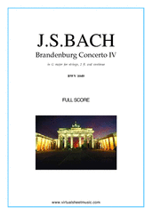 Cover icon of Brandenburg Concerto IV (f.score) sheet music for 2 fl, strings and harpsichord by Johann Sebastian Bach, classical score, intermediate orchestra