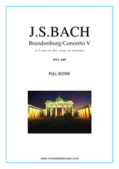 Cover icon of Brandenburg Concerto V (f.score) sheet music for fl, strings and harpsichord by Johann Sebastian Bach, classical score, intermediate orchestra