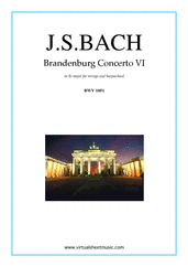 Cover icon of Brandenburg Concerto VI (parts) sheet music for strings and harpsichord by Johann Sebastian Bach, classical score, intermediate orchestra