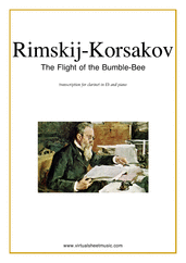 Cover icon of The Flight of the Bumblebee sheet music for clarinet in Eb and piano by Nikolai Rimsky-Korsakov, classical score, advanced