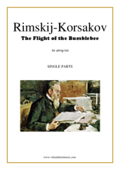 Cover icon of The Flight of the Bumblebee (parts) sheet music for string trio by Nikolai Rimsky-Korsakov, classical score, advanced skill level