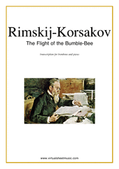 Cover icon of The Flight of the Bumblebee sheet music for trombone and piano by Nikolai Rimsky-Korsakov, classical score, advanced