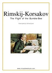 Cover icon of The Flight of the Bumblebee sheet music for cello and piano by Nikolai Rimsky-Korsakov, classical score, intermediate