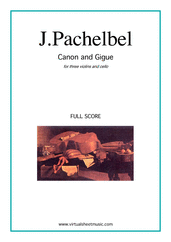 Cover icon of Canon in D and Gigue (f.score) sheet music for three violins and cello by Johann Pachelbel, classical wedding score, intermediate skill level