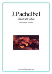 Cover icon of Canon in D and Gigue sheet music for four cellos by Johann Pachelbel, classical wedding score, intermediate skill level