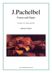 Cover icon of Canon in D and Gigue (parts) sheet music for oboe, two violins and cello by Johann Pachelbel, classical wedding score, intermediate