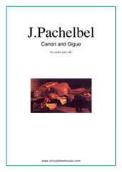 Cover icon of Canon in D and Gigue sheet music for violin and cello by Johann Pachelbel, classical wedding score, intermediate/advanced duet