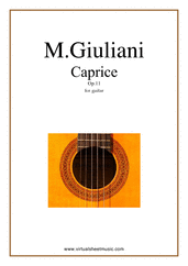 Cover icon of Caprice Op.11 sheet music for guitar solo by Mauro Giuliani, classical score, intermediate
