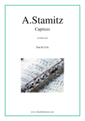 Cover icon of Caprices, part II (5-8) sheet music for flute solo by Anton Stamitz, classical score, intermediate/advanced