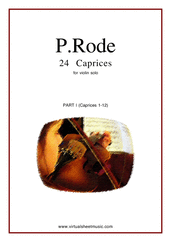 Cover icon of Caprices part I (1-12) sheet music for violin solo by Pierre Rode, classical score, intermediate/advanced violin