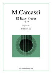 Cover icon of 12 Easy Pieces Op.10, part II sheet music for guitar solo by Matteo Carcassi, classical score, intermediate skill level