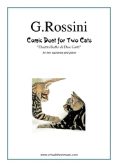 Cover icon of Comic Duet for Two Cats sheet music for two sopranos and piano by Gioacchino Rossini, classical score, intermediate skill level