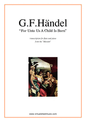 Cover icon of For Unto Us A Child Is Born sheet music for flute and piano by George Frideric Handel, classical score, intermediate skill level