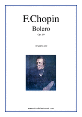 Cover icon of Bolero Op.19 sheet music for piano solo by Frederic Chopin, classical score, advanced piano