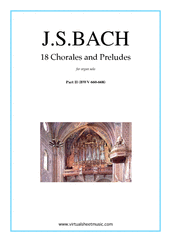 Cover icon of Chorales and Preludes, 18 (part II) sheet music for organ solo by Johann Sebastian Bach, classical score, intermediate
