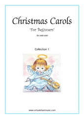 Christmas Carols 'For Beginners', (all the collections, 1-3) for cello solo - cello solo sheet music