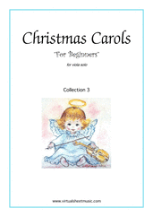 "Cover icon of Christmas Sheet Music and Carols ""For Beginners"", coll.3 for viola solo, beginner skill level"