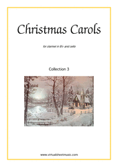 Cover icon of Christmas Sheet Music and Carols, coll.3 for clarinet and cello, easy/intermediate duet