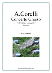 "Cover icon of Concerto Grosso Op.6 No.8 - ""Christmas"" (f.score) sheet music for strings and harpsichord by Arcangelo Corelli, Christmas carol score, intermediate orchestra"