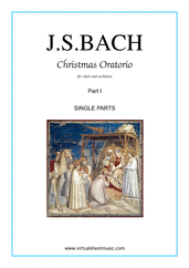 Cover icon of Christmas Oratorio, part I (parts) sheet music for choir and orchestra by Johann Sebastian Bach, Christmas carol score, intermediate/advanced skill level