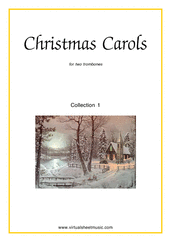 Cover icon of Christmas Sheet Music and Carols (all the collections, 1-3) for two trombones, easy duet