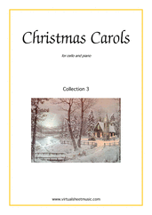 Cover icon of Christmas Sheet Music and Carols, coll.3 for cello and piano, easy cello