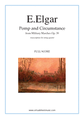 Cover icon of Pomp and Circumstance Op.39 (f.score) sheet music for string quartet by Edward Elgar, classical score, intermediate