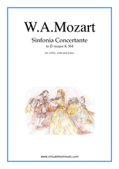 Cover icon of Sinfonia Concertante in Eb major K364 sheet music for violin, viola and piano by Wolfgang Amadeus Mozart, classical score, advanced skill level