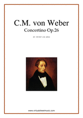 Cover icon of Concertino Op.26 sheet music for clarinet and piano by Carl Maria Von Weber, classical score, intermediate