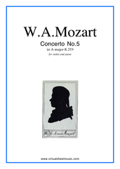 Cover icon of Concerto No. 5 in A major K219 sheet music for violin and piano by Wolfgang Amadeus Mozart, classical score, intermediate/advanced skill level