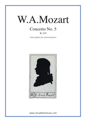 Cover icon of Concerto No. 5 in A major K219 sheet music for viola and piano by Wolfgang Amadeus Mozart, classical score, intermediate/advanced