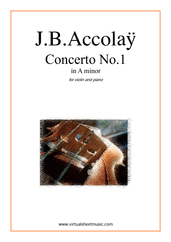 Cover icon of Concerto No.1 in A minor sheet music for violin and piano by Jean Baptiste Accolay, classical score, intermediate/advanced