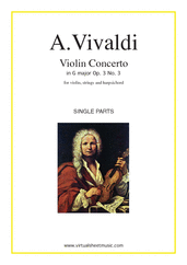 Cover icon of Concerto in G major Op.3 No.3 (parts) sheet music for violin, strings and harpsichord by Antonio Vivaldi, classical score, intermediate orchestra
