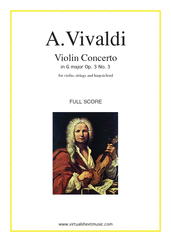 Cover icon of Concerto in G major Op.3 No.3 (COMPLETE) sheet music for violin, strings and harpsichord by Antonio Vivaldi, classical score, intermediate orchestra
