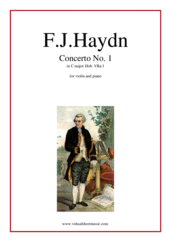 Cover icon of Concerto No. 1 in C major sheet music for violin and piano by Franz Joseph Haydn, classical score, intermediate/advanced