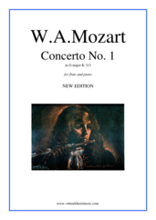 Cover icon of Concerto No.1 in G major K313 sheet music for flute and piano by Wolfgang Amadeus Mozart, classical score, intermediate skill level