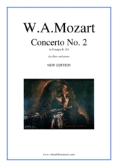 Cover icon of Concerto No.2 in D major K314 sheet music for flute and piano by Wolfgang Amadeus Mozart, classical score, intermediate skill level
