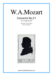Cover icon of Concerto in C major No.21 K467 sheet music for piano and orchestra by Wolfgang Amadeus Mozart, classical score, intermediate skill level