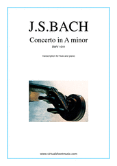 Cover icon of Concerto in A minor sheet music for flute and piano by Johann Sebastian Bach, classical score, intermediate skill level