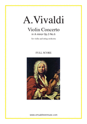 Cover icon of Concerto in A minor Op.3 No.6 (COMPLETE) sheet music for string orchestra by Antonio Vivaldi, classical score, intermediate orchestra