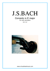 Cover icon of Concerto in E major sheet music for violin and piano by Johann Sebastian Bach, classical score, intermediate