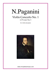 Cover icon of Concerto op.6 no.1 sheet music for violin and piano by Nicolo Paganini, classical score, advanced violin