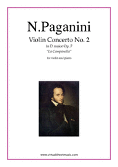 "Cover icon of Concerto op.7 no.2 ""La Campanella"" sheet music for violin and piano by Nicolo Paganini, classical score, advanced violin"