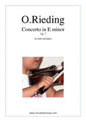 Cover icon of Concerto in E minor Op.7 sheet music for violin and piano by Oskar Rieding, classical score, intermediate skill level