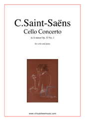 Cover icon of Concerto in A minor Op.33 No.1 sheet music for cello and piano by Camille Saint-Saens, classical score, advanced cello