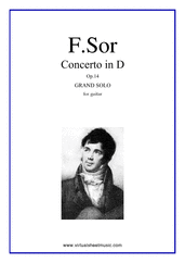 Cover icon of Concerto in D, Op.14 sheet music for guitar solo by Fernando Sor, classical score, intermediate/advanced skill level